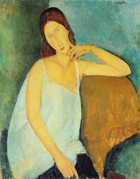 Modigliani-jeanne-sitting-1918