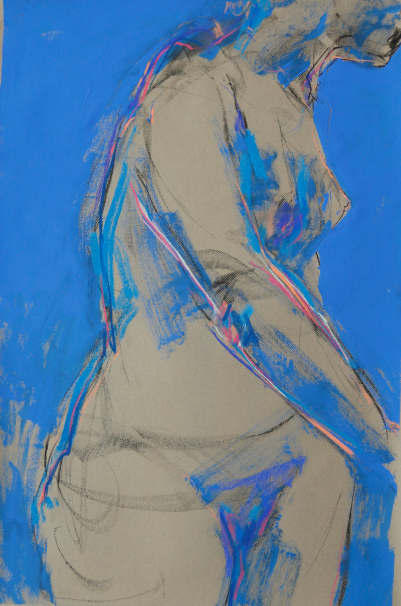 2017 Barbara Fugate. Figure in Blue. 30x40inches on gray paper with mixed media